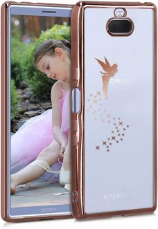 kwmobile Crystal TPU Case Compatible with Sony Xperia 10 - Soft Flexible Transparent Silicone Cover - Fairy Copper/Transparent