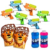 walla All in One Summer Party Bundle Pack for Kids - Bubbles Set of 2X Animal Bubble Gloves with Bubble Solution (Refill Included) - Set of 6 Small Squirt Water Guns - Ultimate Fun in The Sun
