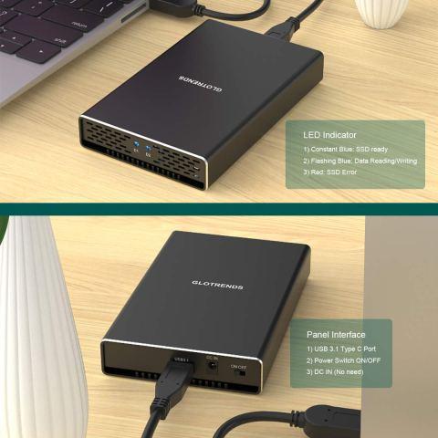 GLOTRENDS M.2 RAIDケース USB-C 3.1 Gen2 正面と背面 使用例