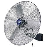 Deluxe Oscillating Wall Mount Fan, 30' Diameter, 1/2hp, 10,000cfm