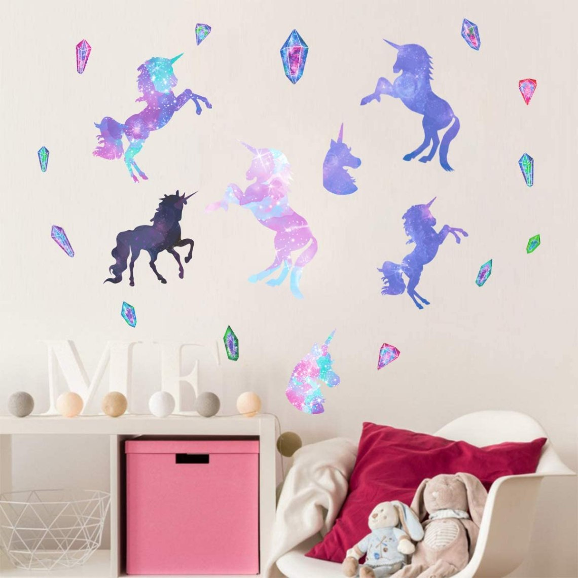 Galaxy Unicorn Wall Decals Gifts For Girls Boys Kids Bedroom Peel Stick Vinyl Room Wall Stickers Removable Decor Nursery Decorations Wall Decor Baby Semo Es