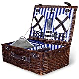 4 Person Wicker Picnic Basket | Deluxe Woven Willow Vintage Picnic Baskets |Extra-Large 22 X 15 - Porcelain Plates, Real Glass Wine Glasses, Stainless Steel Silverware, Opener - Free Cold Storage Bag
