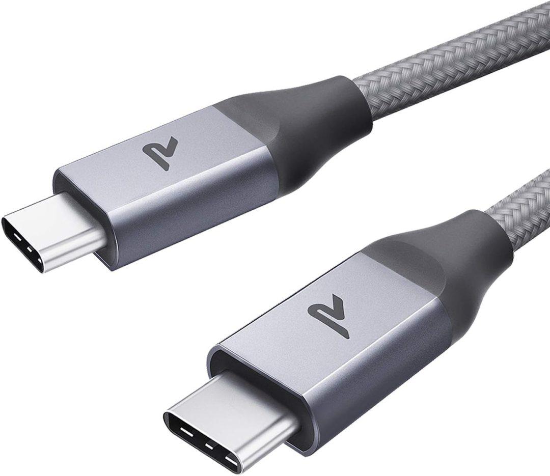 RAMPOW Câble USB C vers USB C 2m - Câble USB Type C Charge Rapide 60W Power Delivery Nylon Tressé pour Macbook Pro, iPad Pro 2018, Nintendo Switch, Samsung S8/S9/S10, Google Pixel - Gris Argenté