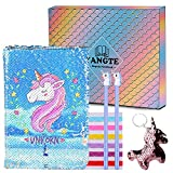 Unicorn Notebook Gel Pens Set, Mermaid Reversible Sequin Journal Magic DIY Painting-Lovely Diary Back to School Birthday Gifts For Girls All Ages: 3 4 5 6 7 8 9 10