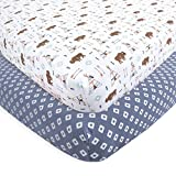 Hudson Baby Cotton Fitted Crib Sheets, 2 Pack, Teepee, One Size