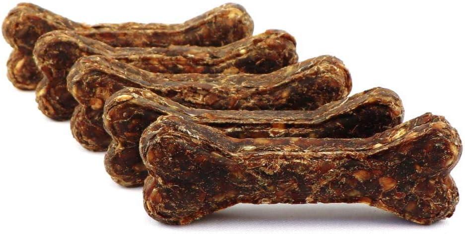 DOGBOSS Huesos masticables Anti garrapatas Cistus Incanus e Ingredientes 100% Naturales. Recomendados para Cachorros y para Perros Mayores. (5 Huesos con cistus incanus y Pato & Manzana, 12 cm)