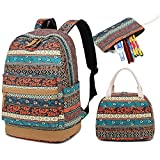 CAMTOP School Backpack for Girls Teens Bookbag College School Bags Set with Lunch Box and Pencil Case (Bohemian)