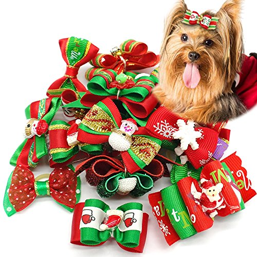 Didog 20pcs Dog Cat Grooming Accessories Hair Bow for Christmas Party 1