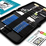 Drawing Pencils Art Supplies – 37 Sketching Art Set – Each Art Supply Includes Bonus Sketch Book and Digital Library Drawing Tutorials Cool Stuff - Pencil Pouch, Graphite Charcoal Pencils, Erasers