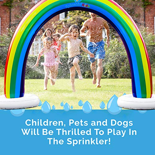 Splashin'kids Outdoor Rainbow Sprinkler Super Toddler Water Toys for Children Infants Boys Girls and Kids Perfect Outside Inflatable Water Park for Summer Fun - Watch Video