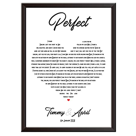 Personalised Song Lyrics Wall Art Print Ed Sheeran Perfect The Perfect Gift Idea For Wedding First Dance Love Song Anniversary Engagement