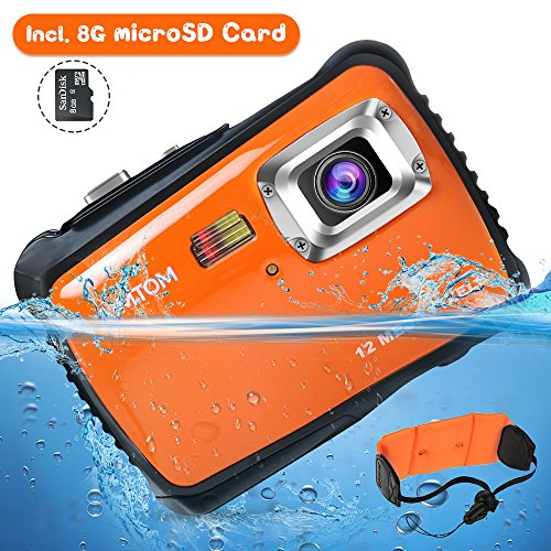 "AIMTOM Kids Underwater Digital Waterproof Camera with 8G microSD Card, 12MP HD Boys Girls Action Camcorder, 2"" Screen Children Birthday Holiday Gift Learn Sports Cam – Floating Wrist Strap (Orange)"