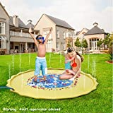 Hoovy Baby Water Splash Mat | 68'' Large Diameter Inflatable Outdoor Sprinkler Pad for The Beach, Pool, Garden, Deck, Backyard, Summer & More