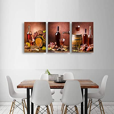 Buy Baisuwallart K60646 3 Pieces Kitchen Wall Decor Red Wine Cups Hd Modern Framed Wall Art Restaurant Canvas Prints Pictures Paintings Wine Glass Barrel For Dining Room Artwork Larger Online In Kazakhstan B08l36z835