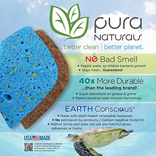 Pura Naturals Stink Free Sponge. Inhibit Bacteria. Stay Fresh NO ...