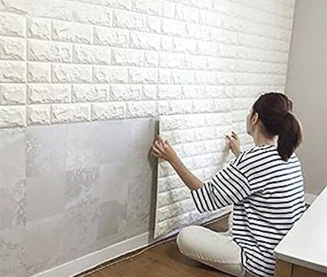 Dodoing D Brick Muster Tapete D Ziegelstein Tapete Wandaufkleber Wandtattoo Papier Abnehmbare Selbstklebend Tapeten Fur