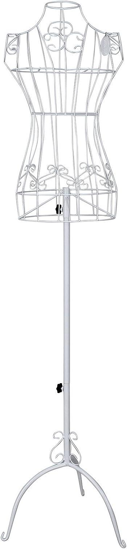 SONGMICS Réglable 170 cm Porte vêtement Mannequin de Couture Buste en Fer Forgé Femme Blanc HRA10W