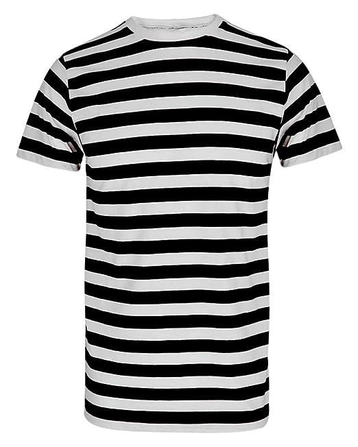 Herren Jungen Streifen Rot Weiß Gestreift T Shirt Blau Schwarz Streifen Top Tees