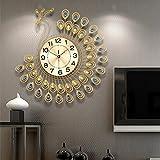 NEOTEND 3D Wall Clock Peacock 40pcs Diamonds Decorative Clock Diameter 20.8'