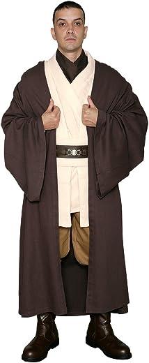 Costume du Jedi Obi-Wan Kenobi dans Star Wars –Tunique avec bure de jedi marron foncé–Réplique du costume de Star Wars