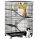 Topeakmart 4-Tier Foldable Kitten Cat Home Cages Wire Pet Crate House with Leopard Hammock Bed & Wheel Casters for Measures 32L x 22W x 48H inches