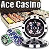 500 Count Ace Casino Poker Set - 14 Gram Clay Composite Chips with Aluminum Case, Playing Cards, & Dealer Button for Texas Hold'em, Blackjack, & Casino Games by Brybelly