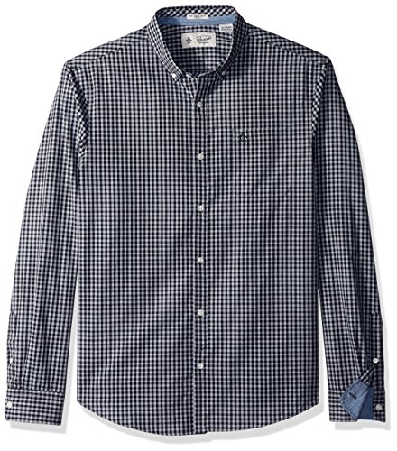 61ubrQDOXWL Men's long sleeve woven button down dress shirt with rounded cuffs and gingham pattern Heritage slim fit - slim cut through chest, waist and arms Original Penguin logo on left of chest and single chest pocket