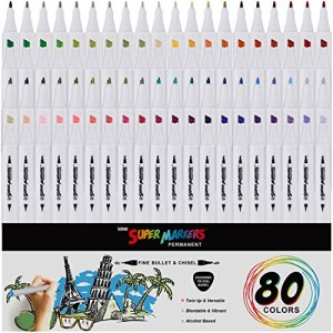 80 Color Super Markers Primary & Secondary Tones Dual Tip Set – Double-Ended Permanent Art Markers with Fine Bullet & Chisel Point Tips – Ergonomic Tri-Oval Barrels – Draw, Sketch, Illustrate, Manga