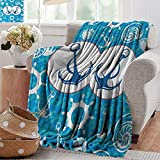 PearlRolan Fuzzy Blanket,Nautical,Sea Theme Doodle Nostalgia Sailboat Seaman Adventurous Travels Lifestyle,Blue Turquoise White,Luxury Flannel Throw Blankets for Bed(Lightweight,Super Soft) 50'x70'