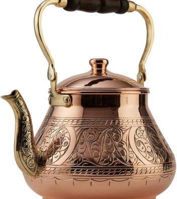 DEMMEX Handmade Heavy Gauge Copper Tea Pot