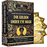 Under Eye Collagen Patch, 24K Gold Anti-Aging Mask, Treatment Pads for Puffy Eyes & Bags, Dark Circles and Wrinkles, with Hyaluronic Acid, Hydrogel,Deep Moisturizing Improves elasticity, 24 Pairs