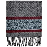 Detailed Woven Celtic Scarf made in Scotland, a collection based on traditional Celtic designs and patterns (Nordic Grey)