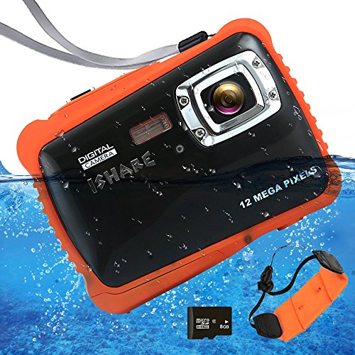 Waterproof Digital Camera for Kids, ISHARE Kids Camera 12MP HD Underwater Action Camera Camcorder with 2.0″ LCD, 8x Digital Zoom, Flash and Mic for Girls/Boys)