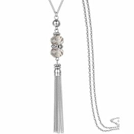 """Handmade Jewelry Long Sparkly Crystal Pendant Tassel Necklace Chain for Women 32"""""""