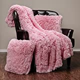 Chanasya 3-Piece Super Soft Shaggy Throw Blanket Pillow Cover Set - Chic Fuzzy Faux Fur Elegant Cozy Fleece Sherpa Throw (50'x65')