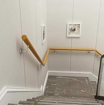 Amazon Com Yude Round Solid Wood Stair Handrail Pine Anti Slip | Round Stairs Railing Design | Metal | Silver | Loft | Stainless Steel | Brown