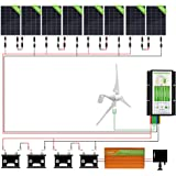 ECO-WORTHY 1400W Wind Solar Power Kit: 400W DC 24V Wind Turbine Generator 3 Blade with Controller + 8pcs 120W Mono Solar Panels + 3500W 24V-110V Off Grid Inverter for Home, Boat