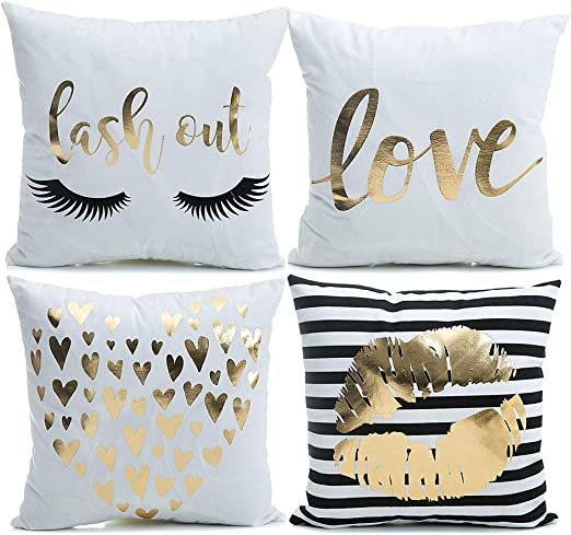 Gold Lash Love Cushion Covers