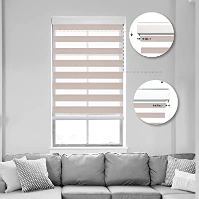 Buy Kerxwerd Motorized Cordless Zebra Blinds Electric Roller Horizontal Blinds With Dual Layer Window Blinds And Shades For Office Home Bedroom Blackout Customized Size Beige 98 Blackout Online In Indonesia B093245nsh