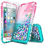 iPhone 6S Case, iPhone 6 Glitter Case with Screen Protector for Girls Women Kids, NageBee Liquid Sparkle Bling Floating Waterfall Shockproof Durable Cute Case for iPhone 6/6S 4.7 Inch -Pink/Aqua