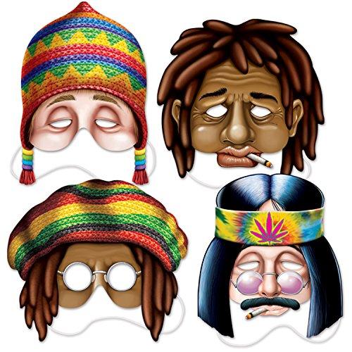 Beistle 66809 Hippie Masks (4 Pack), 10.5