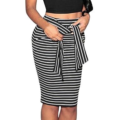 Ohq Röcke Für Damen Hohe Taille Streifen Kleid Schwarz Weiß