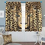SeptSonne-Home Wildlife Decor Wild Tiger Leopard Print Picture of Art Photos Big Cat with Green Eyes in Animal Themed Window Curtain Drape Yellow Brown Decorative Curtains for Living Room 52'x63'