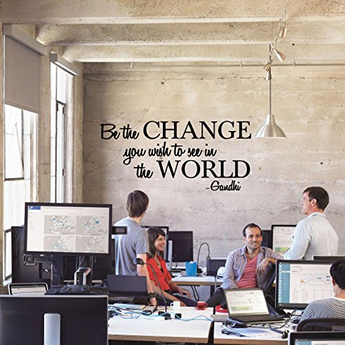 Be The Change To The World Ghandi Quote Vinyl Wall Decal Sticker