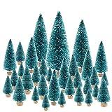 KUUQA 66Pcs Mini Christmas Trees Bottle Brush Trees Sisal Snow Pine Trees Architecture Trees Winter Snow Ornaments for Christmas Decorations Diorama Models