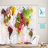 NYMB Urban Colorful World Map Shower Curtains, Vintage Watercolor Splashing Map of Map for Kids Bath Curtain, 69X70in Polyester Fabric Shower Curtain Hooks