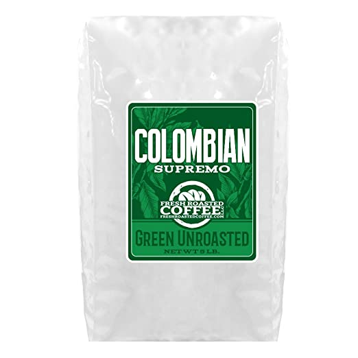 Green Unroasted Coffee, 5 Lb. Bag, Fresh Roasted Coffee LLC. (Colombian Supremo)