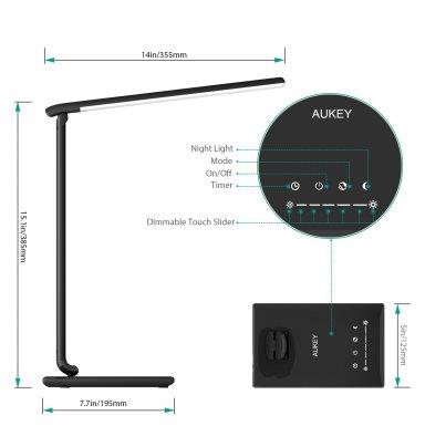 Abmessungen - Aukey LT-T10 12W LED Schreibtischlampe