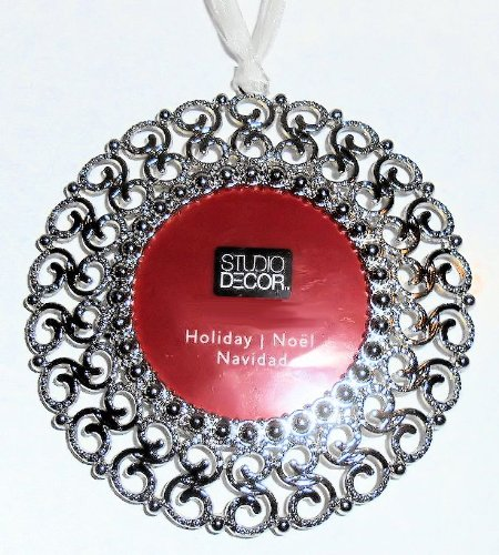 Round Christmas Tree Ornament Photo Frame Enamel Silver Metal