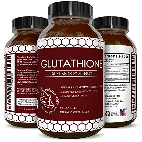 Pure Glutathione Supplement Natural Skin Whitening Pills for Men and Women Pure Antioxidant for Anti Aging Benefits 500 mg Reduced Form Glutathione with Milk Thistle Extract 60 Caps
